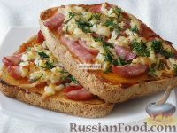 """Фото к рецепту: Быстрая """"пицца"""" на хлебе"""