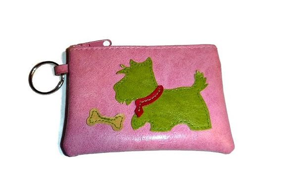 SALE Scottie Dog Coin Purse Key Ring Pink Vintage Scotty Dog Change Purse Doggy Zip Wallet Pouch Keychain Kawaii Scotty Dog Lover Key Chain