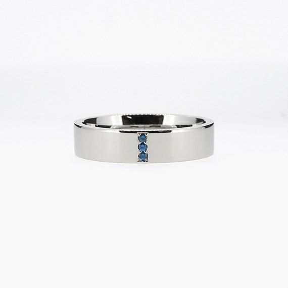Narrow Line Ring with Blue Sapphires in Palladium