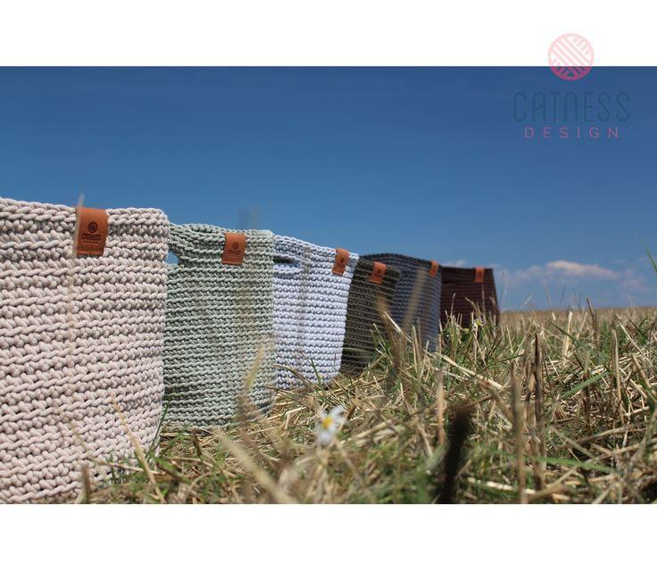 Hand-crocheted baskets. Design by Catness. Interior Design. Original basket.