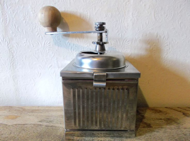 Mid Century Modern Silver Industrial Coffee Grinder by Retromagination on Etsy
