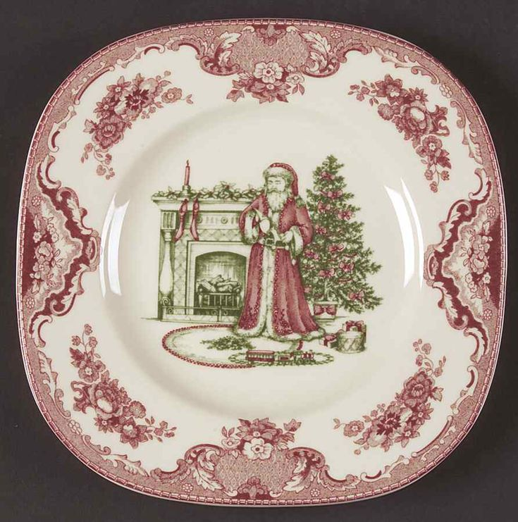 johnson brothers china patterns | Johnson Bros OLD BRITAIN CASTLES CHRISTMAS Santa Plate