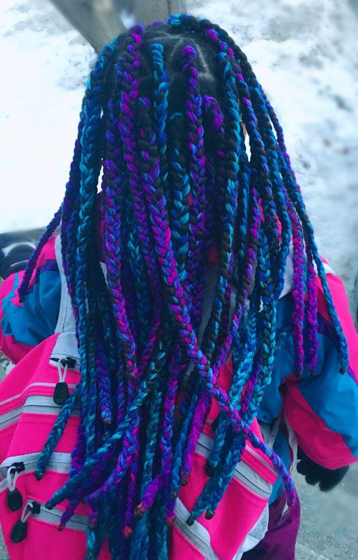 Yarn braids - protective style - indigo #yarnbraids #indigo #protectivestyle #braids