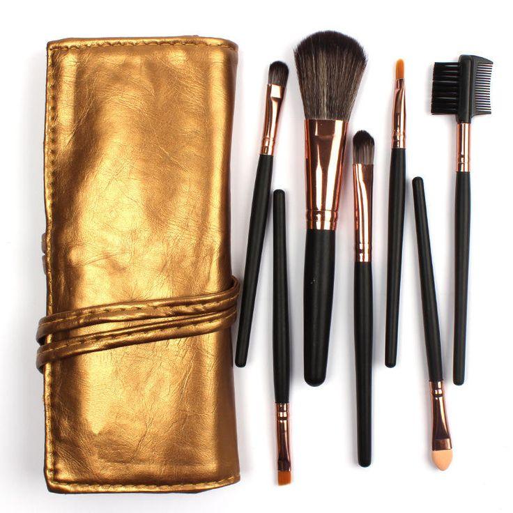 7pcs Soft Makeup Brushes Kit Set Eye Shadow Eyebrow Brush Kit Cosmetics Tools Brown Black Handle