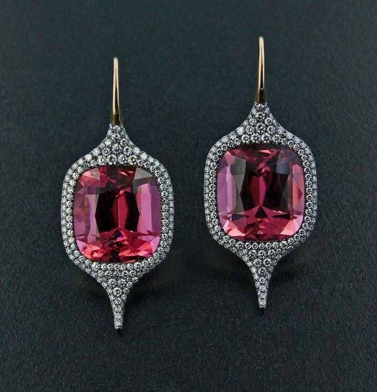 Alain Truong: Pink Tourmaline and Diamond Earrings