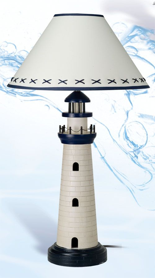Lighthouse lamp for a nautical themed nursery
