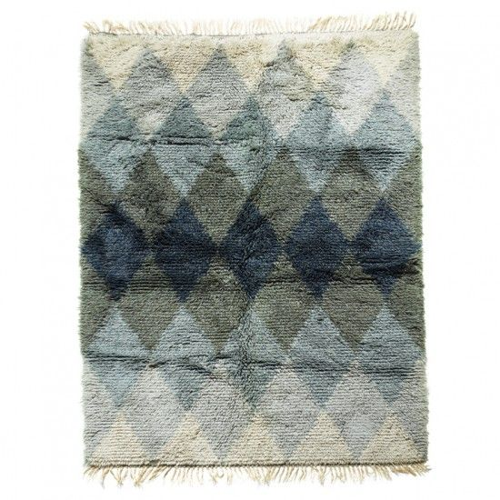 Gallery BAC | Swedish rya carpet with harlequin pattern in blues and green