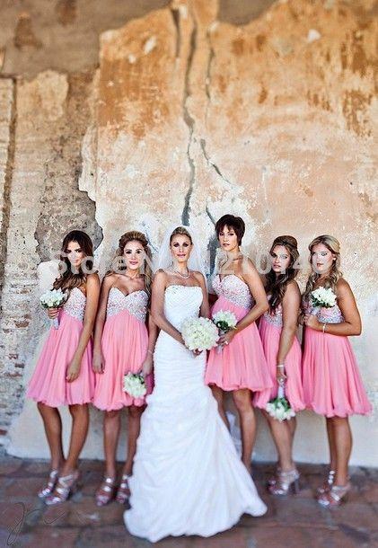 Дешевое 2015 без бретелек длиной до колен бисером шифон розовые платья невесты, Купить Качество Платья подружек невесты непосредственно из китайских фирмах-поставщиках:                                  Отличный сервис и превосходное качество                                      &nbs
