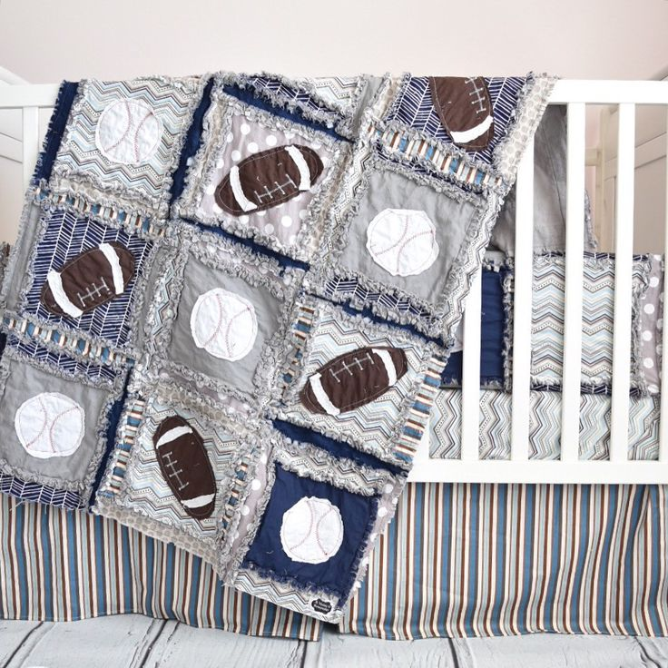 Custom Football Crib Bedding for baby boy. Features navy blue and gray fabrics with appliquedbaseballs and footballs. Care: - Bumpers: wipe clean - Quilt, Pillow sham, Sheet, Crib Skirt-Wash with like
