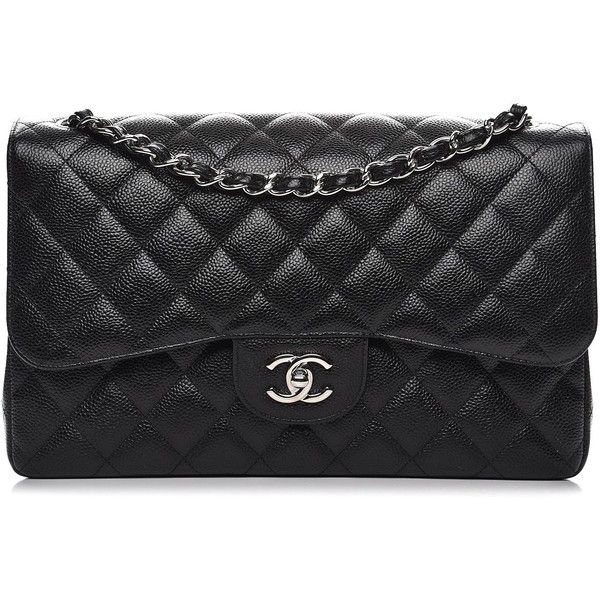 CHANEL Caviar Quilted Jumbo Double Flap Black ❤ liked on Polyvore featuring bags, handbags and shoulder bags