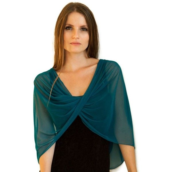 Noa Vider Teal Sheer Infinity Shawl Shrug ($35) ❤ liked on Polyvore featuring outerwear, sleeveless shrug, shrug cardigan, bridal shrug, blue shawl and cardigan shrug