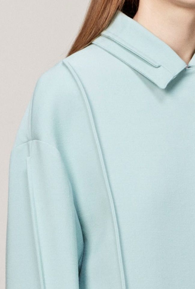 Jacket with creative seam detail for a decorative trim; sewing inspiration; innovative pattern cutting; fashion design detail