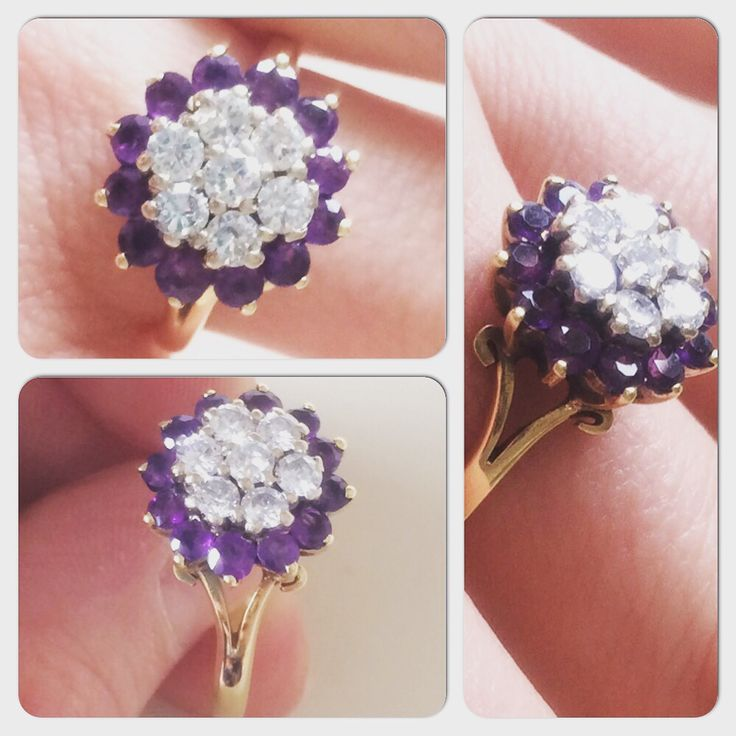 Dazzling vintage #diamond and #amethyst cluster #ring - what's not to love? #vintageprettythings #vintageprettyrings #showmeyourrings #vintageprettypins #ringsofpinterest #vintagepinterest