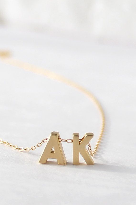 Gold charm personalized letter necklace for Mother's Day, from powderandjade on Etsy.