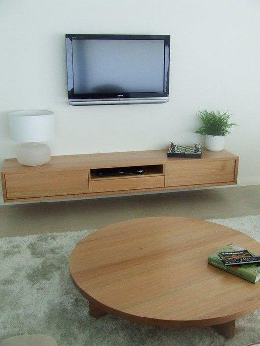 Solid Timber Tassie Oak Wall mounted Entertainment Unit and Matching low line round coffee table - TimberWise Cabinets, Carpenter, Pinjarra, WA, 6208 - TrueLocal