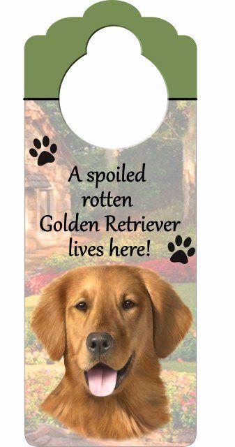 Golden Retriever wooden doorknob hanger