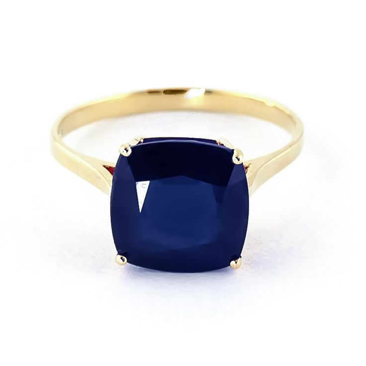 14K Gold 4.83ct Sapphire Rococo Cushion Ring - GJ4326Y | Gifted Jewelry