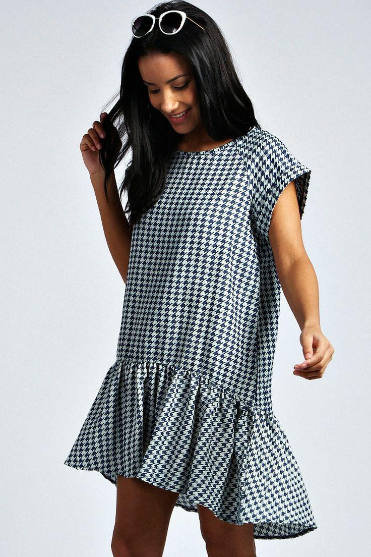 Jess Houndstooth Denim Drop Waist Smock Dress at boohoo.com