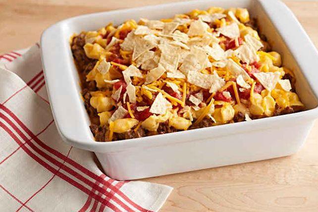 Casserole de pâtes et de nachos au fromage