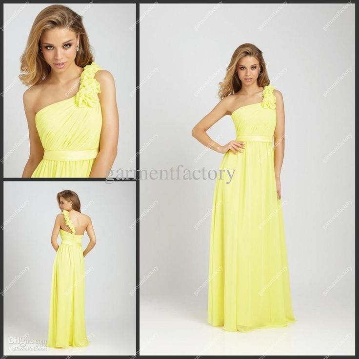 Wholesale Yellow Bridesmaid Dresses 2012 One Shoulder A Line Long Chiffon Bridesmaid Gowns Suzhou, Free shipping, $87.36-96.32/Piece | DHgate