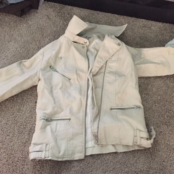 Cream leather jacket Forever 21 cream leather jacket. Great condition Forever 21 Jackets & Coats