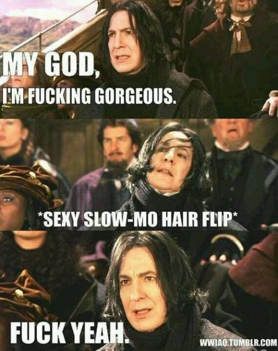 @Anna MauroSeverus Snape, Laugh, Alan Rickman, Harry Potter Fandoms, Hair Flip, Alanrickman, Harrypotter, Long Hair, Funny