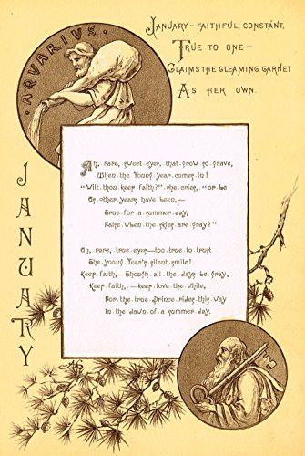 """Mary A. Lathbury's Monthly Poems - """"JANUARY POEM"""" - Tinted Chromolithograph - 1885"""