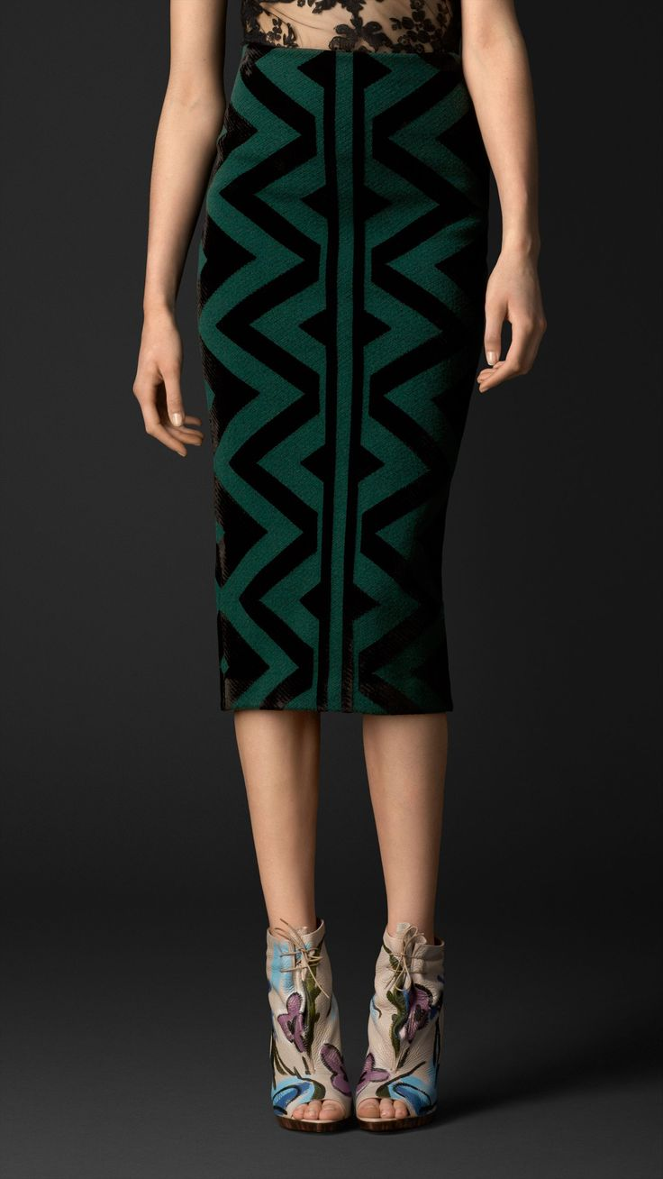 Knitted Blanket Pencil Skirt   Burberry