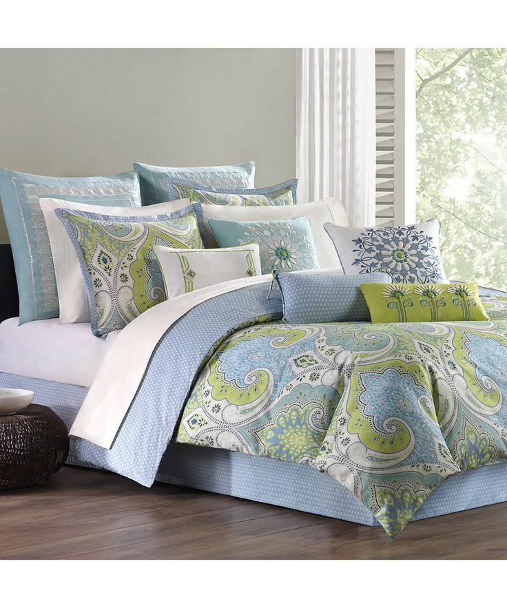 Mediterranean Linens | Periwinkle & Green Mediterranean Bedding Set