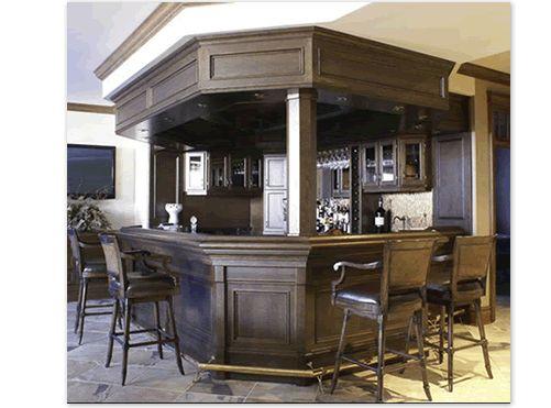 Cutom Home Bars. Beautiful Oak Bar With Canopy, Brass Foot Rail, And Built