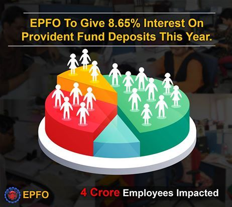 Today in 215th meeting of Central Board (EPF) under the chairmanship of Shri Bandaru Dattatreya ji, Minister of State (Independent Charge) for Labour and Employment decided to give 8.65 per cent interest rate for the year 2016-17. This move will impact over four crore employees.