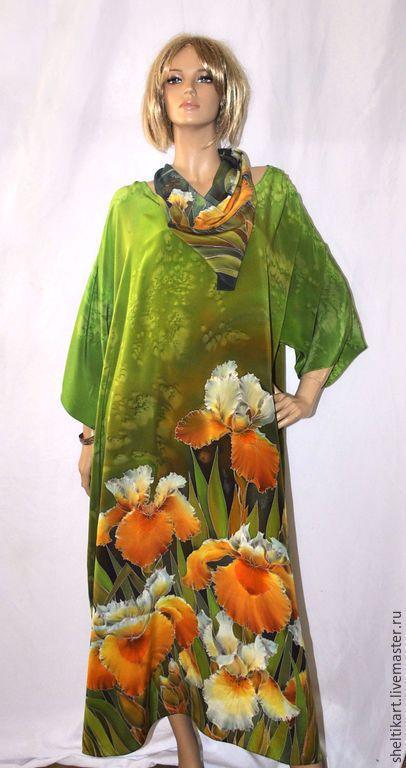 """Платья ручной работы. Ярмарка Мастеров - ручная работа. Купить Платье Батик """" Артемида"""" Большие размеры. Handmade. Зеленый"""