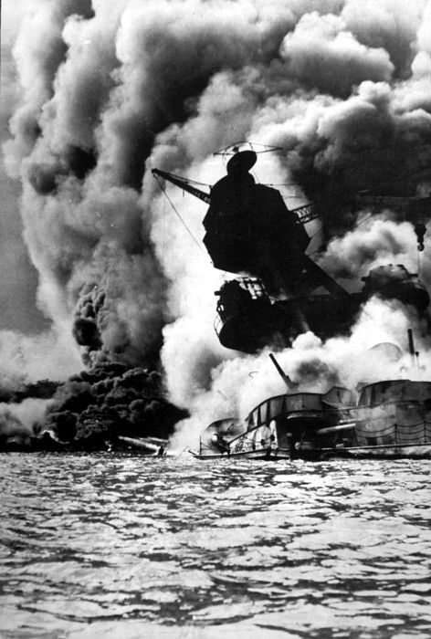 World War II, Pearl Harbor, Hawaii, the destruction of the USS Arizona, December 7, 1941, official U.S. Navy photograph