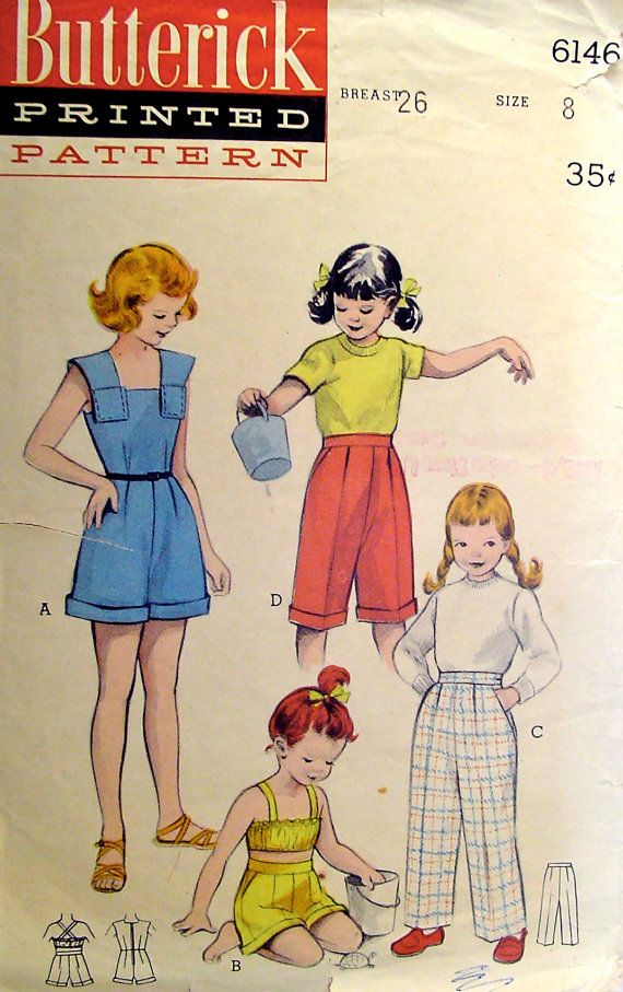 1950s Girls Playsuit Pedal Pushers Butterick 6146 by stumbleupon, $8.95