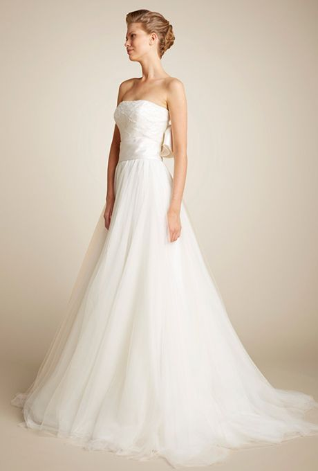 Brides: Giuseppe Papini. Strapless hand beaded bodice on the romantic wedding dress, with soft tulle skirt. www.giuseppepapini.com