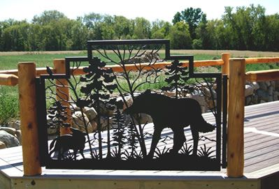 Custom #deck #gate with wolf design and bird handle | Naturerails custom designs in durable powder coated steel or aluminum.  Interior or Exterior Use.  Check out our photo galleries for more ideas at www.NatureRails.com