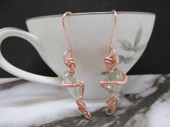 Rose Gold and Crystal Wire Wrapped Earrings handmade copper