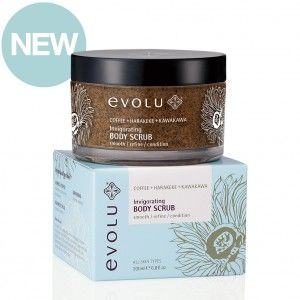 This invigorating body scrub with 20% Arabica coffee grounds will smooth, refine and condition your skin. Containing all natural ingredients, including native New Zealand plant extracts Kawakawa and Harakeke #evoluskincare