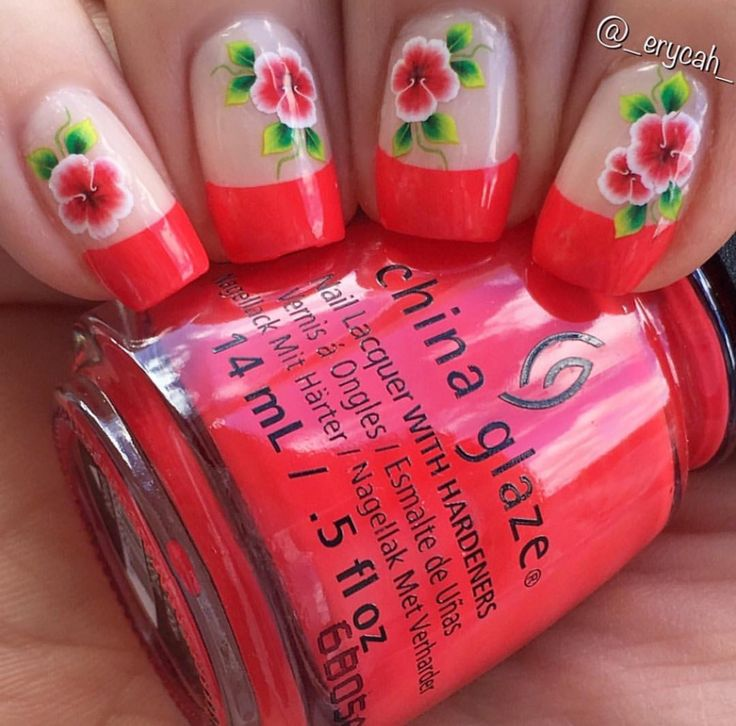 Red french manicure with China Glaze - Hot Flash