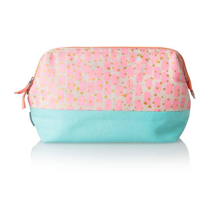 Buy Pink Brush Dot Wash Bag from Oliver Bonas