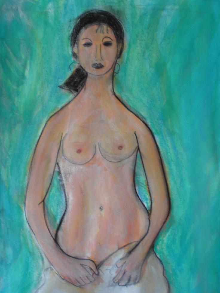 schilderij naar een voorbeeld van de kunstschilder Amedeo Modigliani. Gebruik van oa :houtskool en inkt
