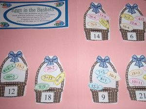 Here's an Easter themed file folder game for sorting addition and subtraction sentences.