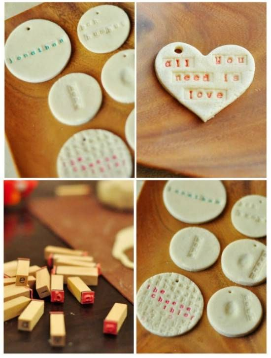 Old fashioned salt dough ornaments {link to the recipe didn't quite work out so I'll have to find it elsewhere...} love the lettering and personalization ❤️