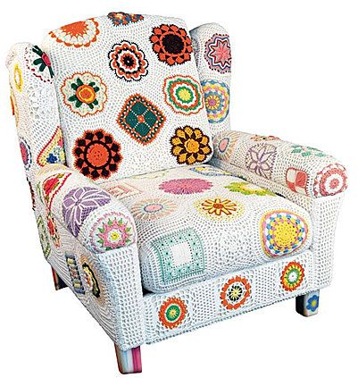 Granny squares and more crochet chair