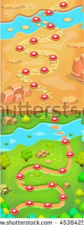 Mobile Game Level Map Walkthrough Design - stock vector