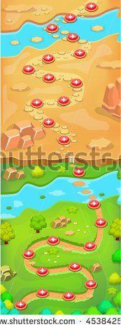Mobile Game Level Map Walkthrough Design - stock vector