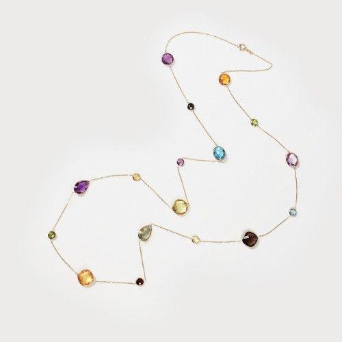 Interesant colier din aur, decorat cu un curcubeu de pietre prețioase (citrine, cuarțuri, peridoturi, ametiste) aur galben 14 k, 5 citrine, 2 cuarțuri fumuri, 2 peridoturi, 5 ametiste cu tăietură fancy, cushion, pară cca. 20 ct total, l=92 cm, 13,9 g Valoare estimativă: € 450 - 650