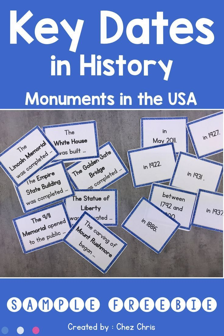 Sample Freebie Key Dates In History 7 American Monuments Introduction Activities Literacy Centers Esl Teaching Resources