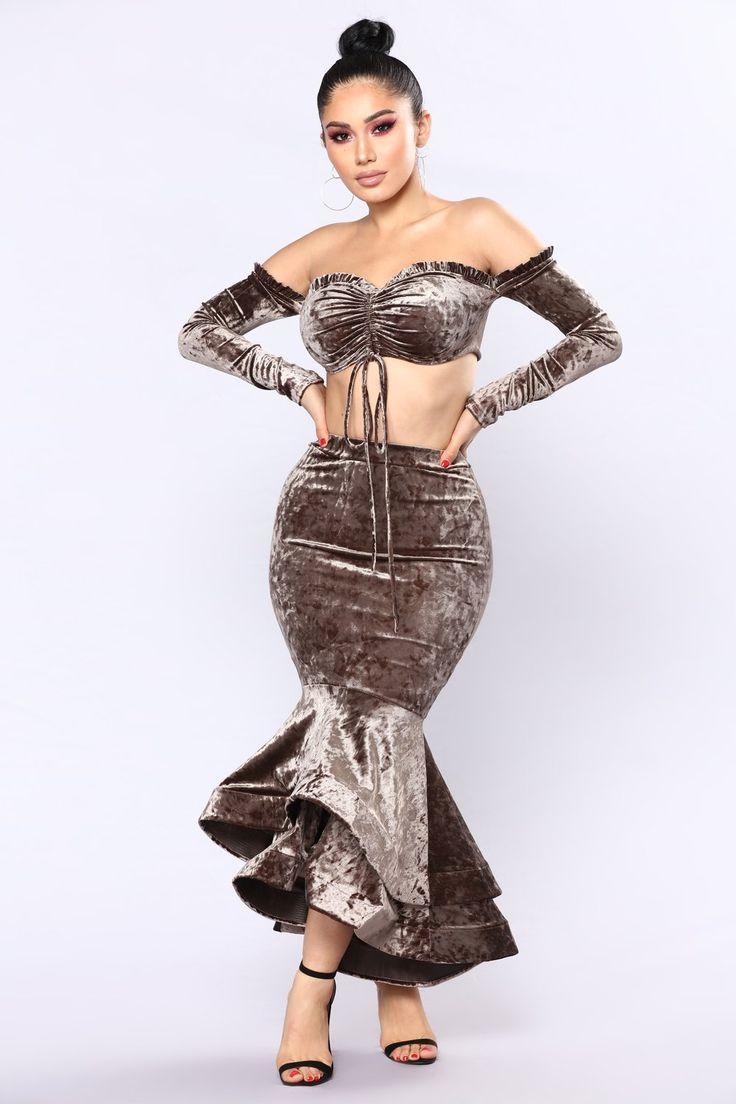Amabella Ruffle Skirt Set - Mocha