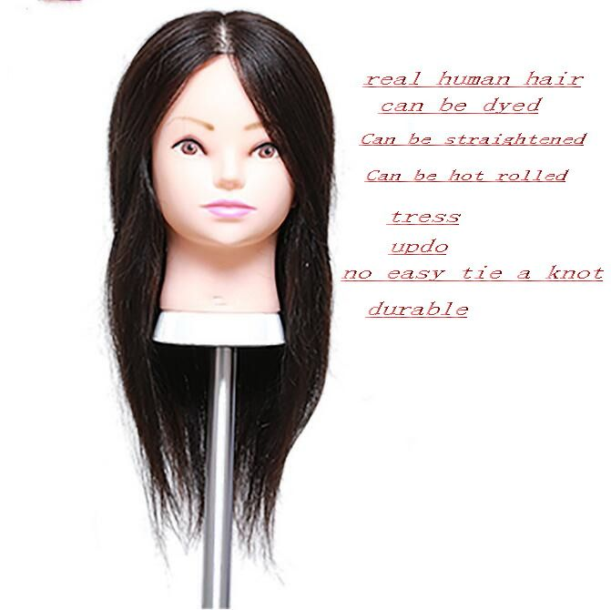 "tete pour perruque,18""human ealistic female real hair mannequin makeup practice hairdressing head,M00613"